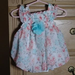Baby girl pink, blue and white floral dress 0-3m